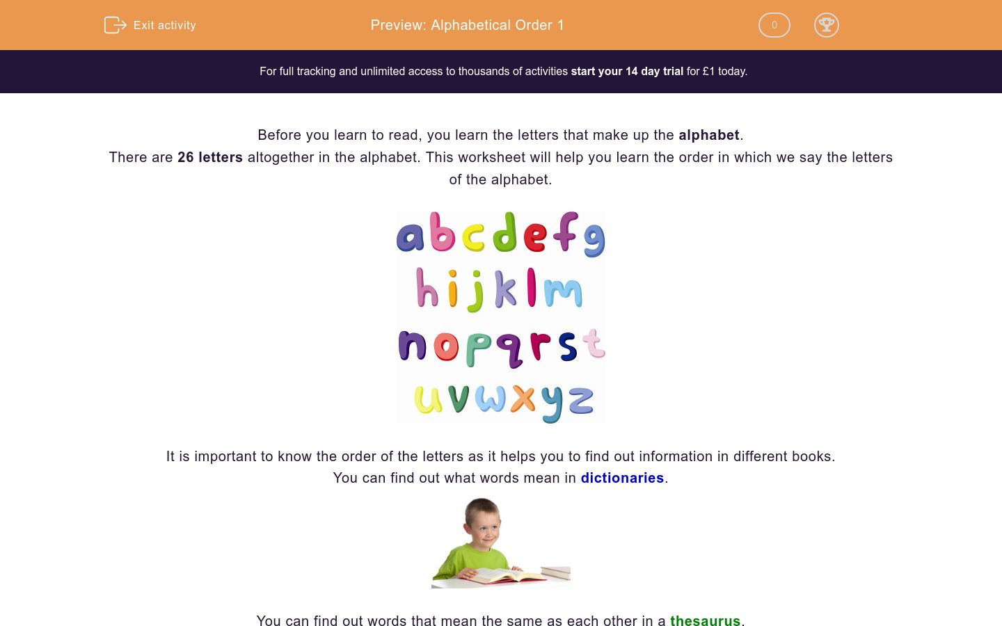 'Alphabetical Order 1' worksheet
