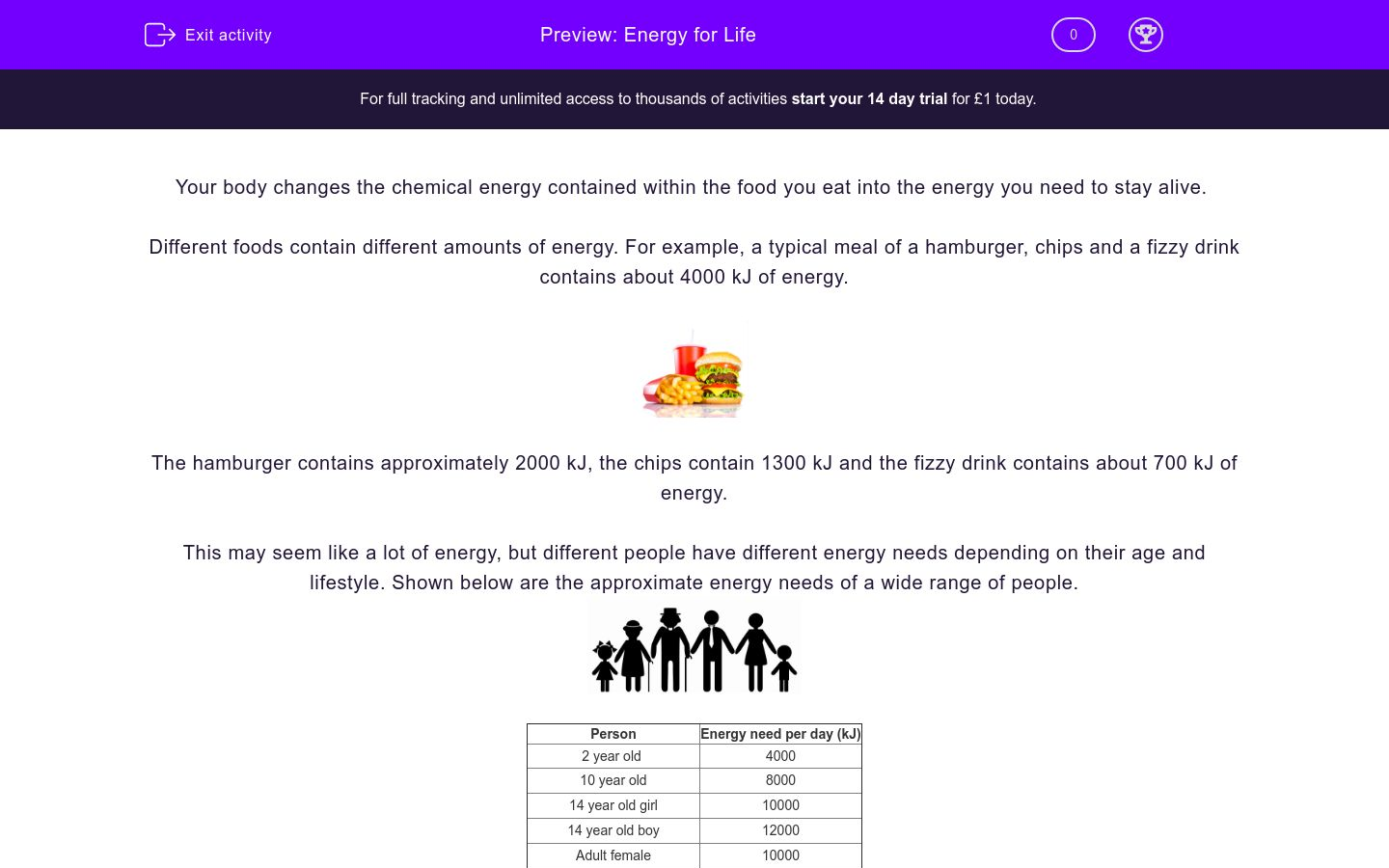 'Energy for Life' worksheet