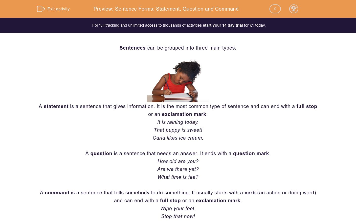 'Sentence Forms: Statement, Question and Command' worksheet