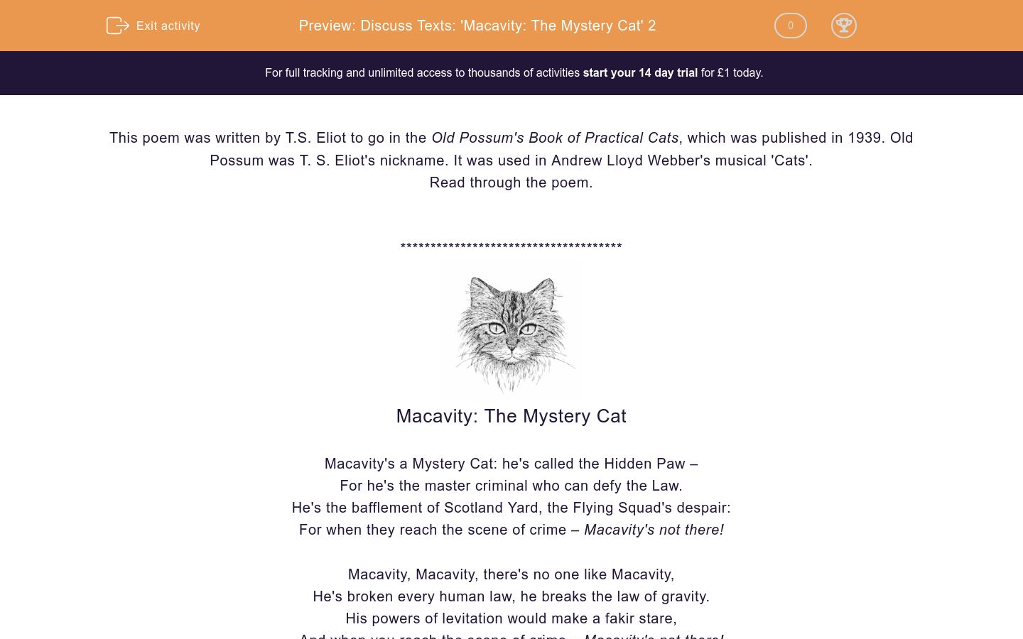 'Discuss Texts: 'Macavity: The Mystery Cat' 2' worksheet