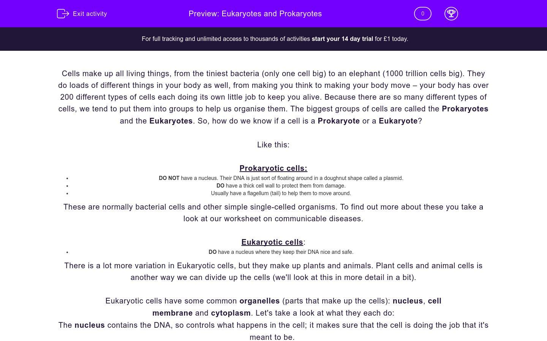 'Eukaryotes and Prokaryotes' worksheet
