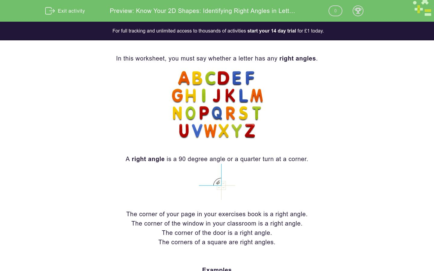 Know Your 2d Shapes Identifying Right Angles In Letters Of The