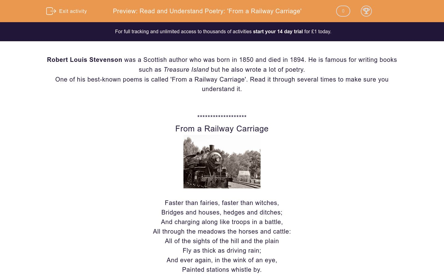'Read and Understand Poetry: 'From a Railway Carriage'' worksheet