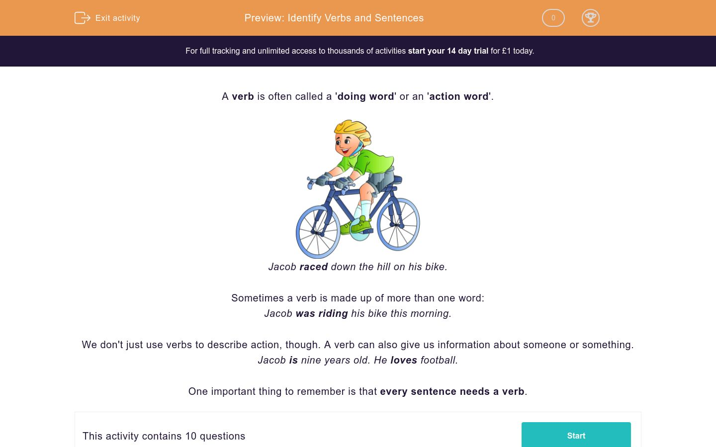 'Identify Verbs and Sentences' worksheet