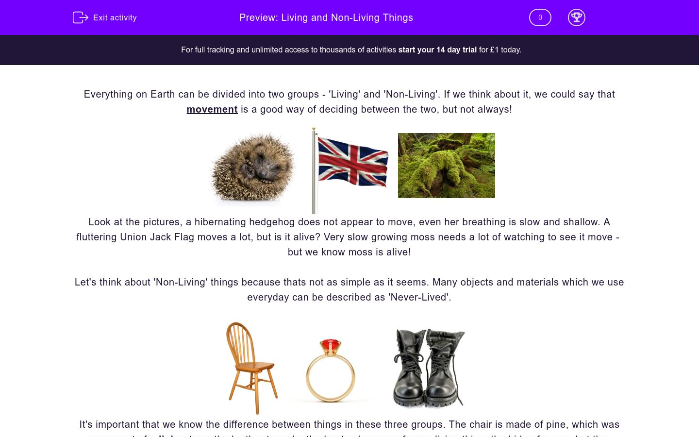 'Living and Non-Living Things' worksheet