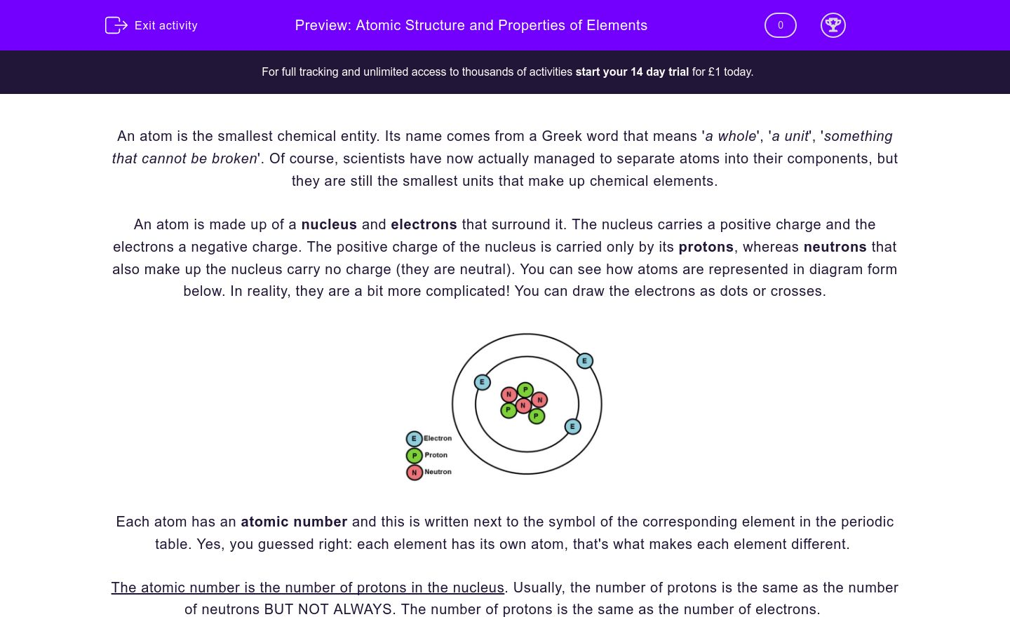 'Understand Atomic Structure and Properties of Elements' worksheet