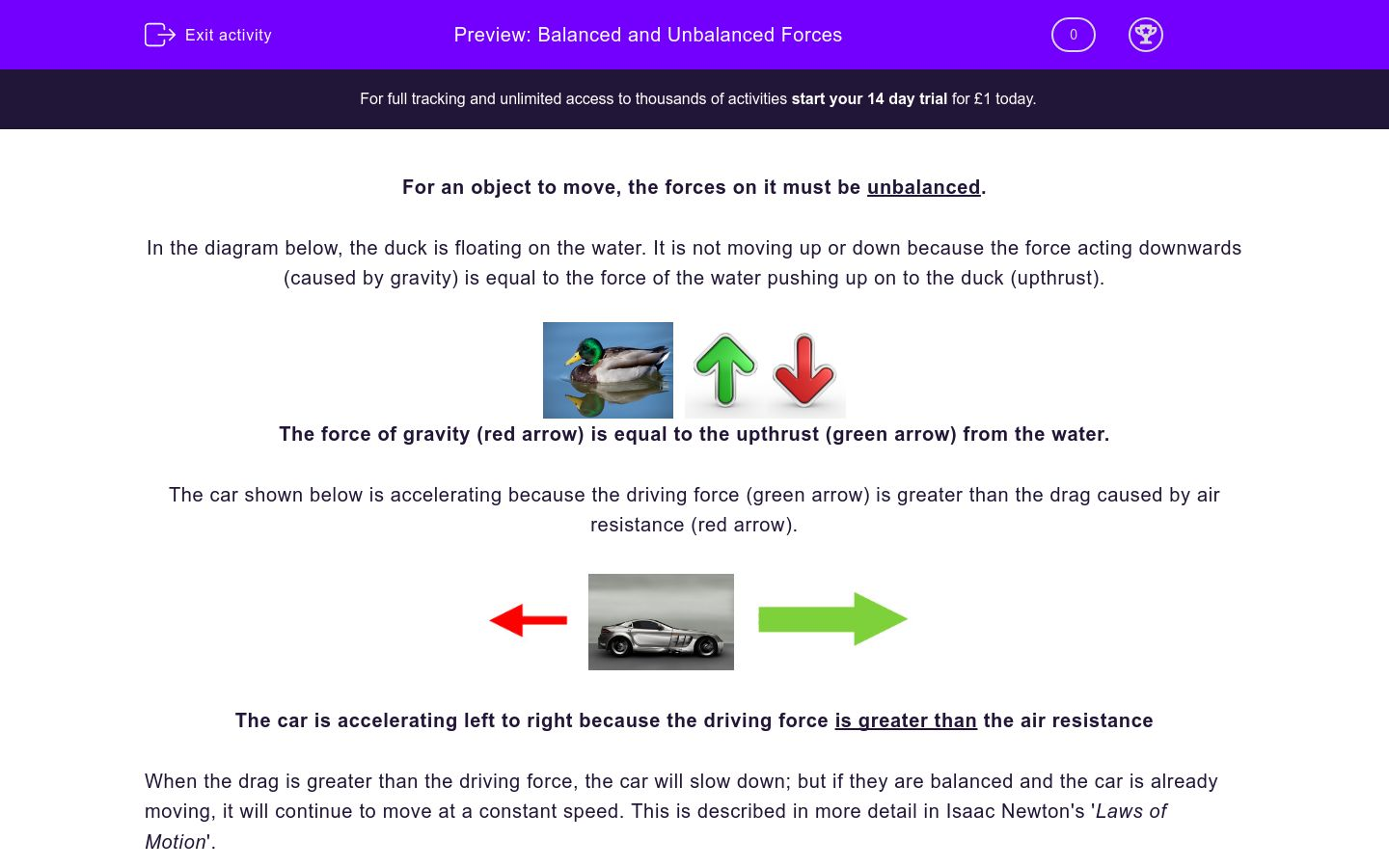 'Balanced and Unbalanced Forces' worksheet