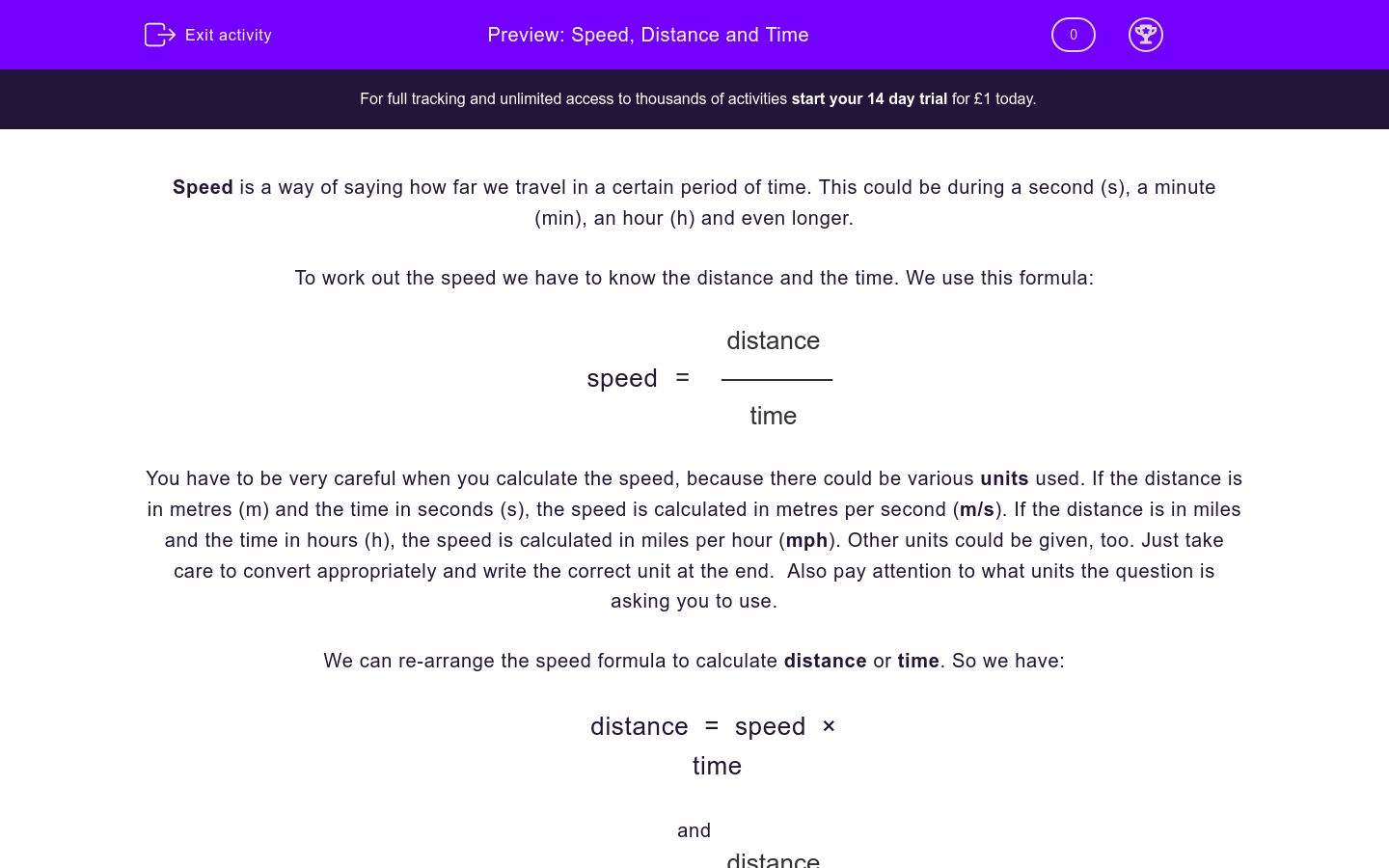 'Speed, Distance and Time' worksheet