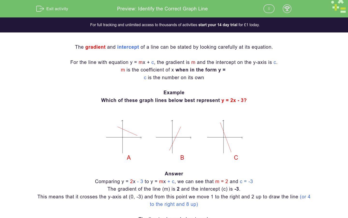 'Choose the Graph Line' worksheet