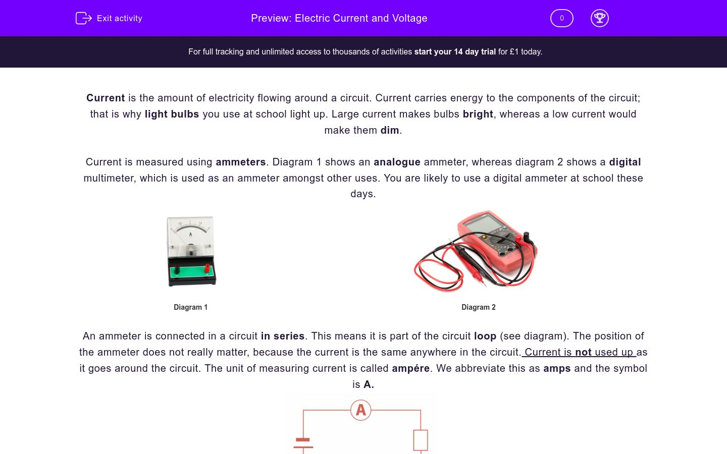 'Electric Current and Voltage' worksheet