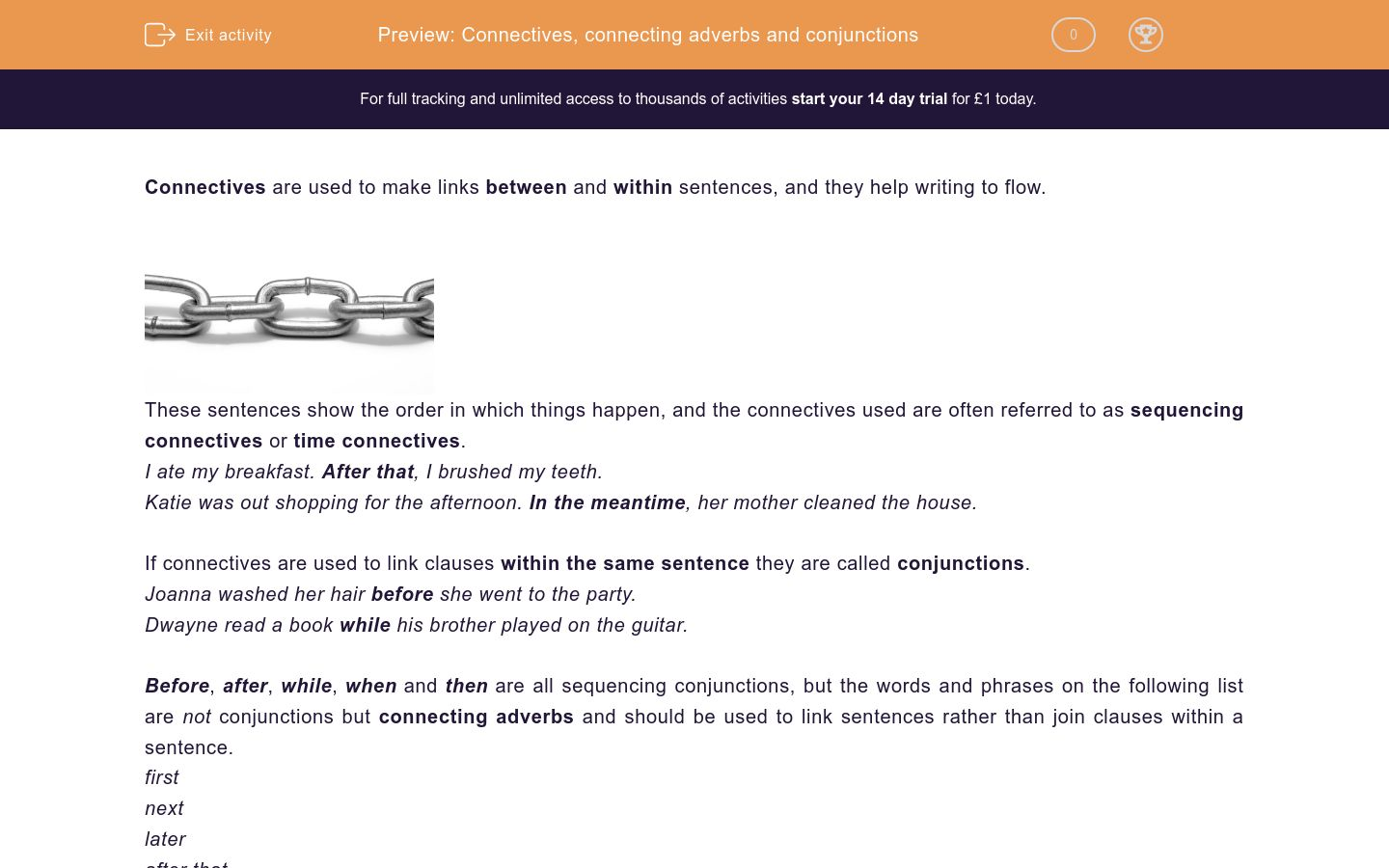 Connectives Linking Phrases Sentences And Paragraphs Worksheet