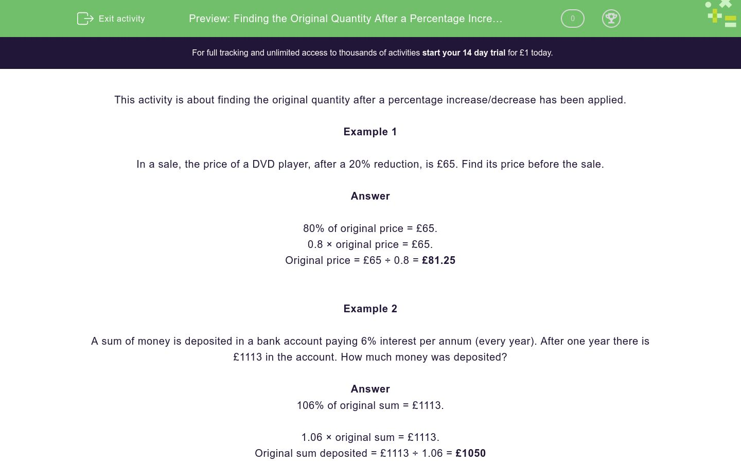 'Finding the Original Quantity After a Percentage Increase or Decrease' worksheet