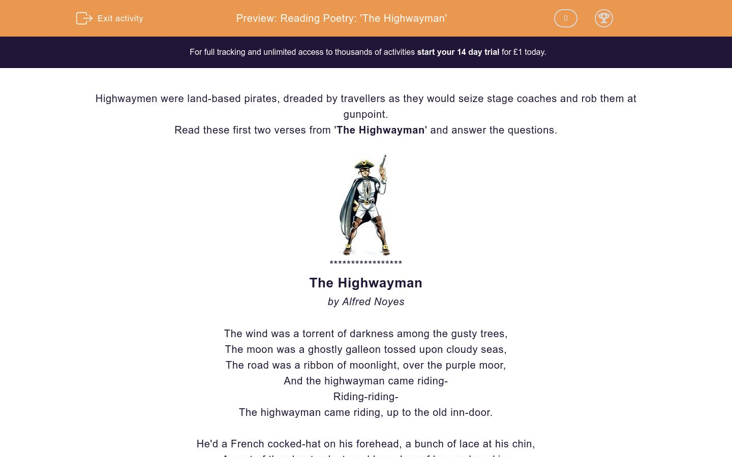 'Reading Poetry: 'The Highwayman'' worksheet