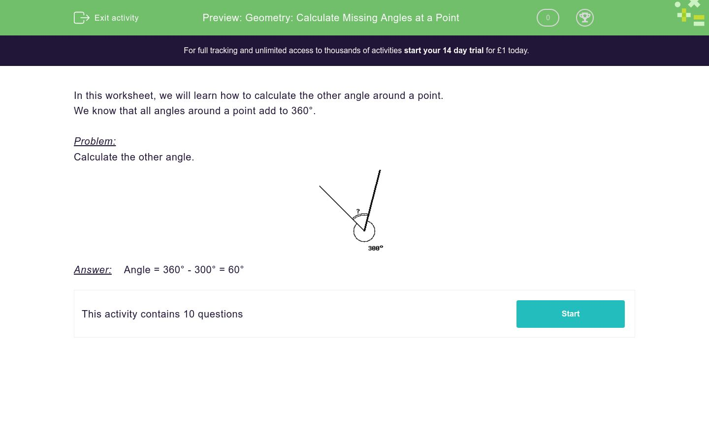 'Geometry: Calculate Missing Angles at a Point' worksheet