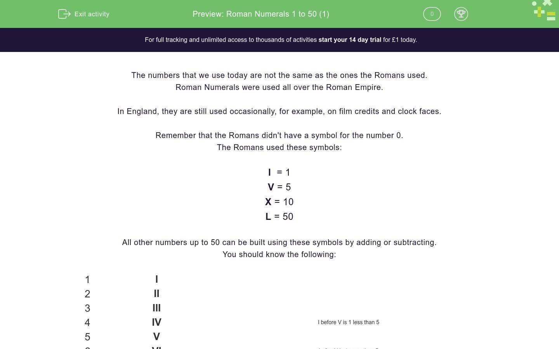 'Roman Numerals 1 to 50 (1)' worksheet