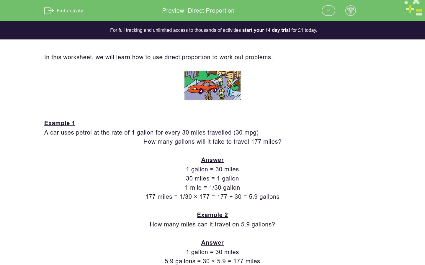 'Direct Proportion' worksheet