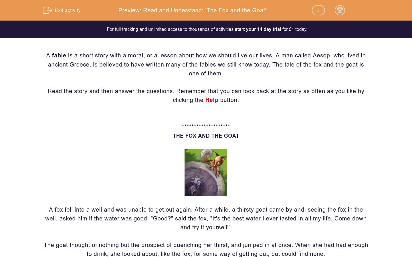 Read and Understand: 'The Fox and the Goat' Worksheet - EdPlace