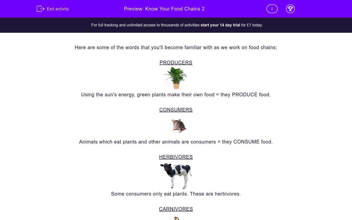 'Know Your Food Chains 2' worksheet