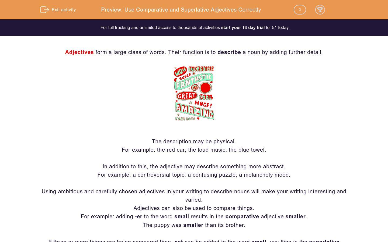 'Use Comparative and Superlative Adjectives Correctly' worksheet