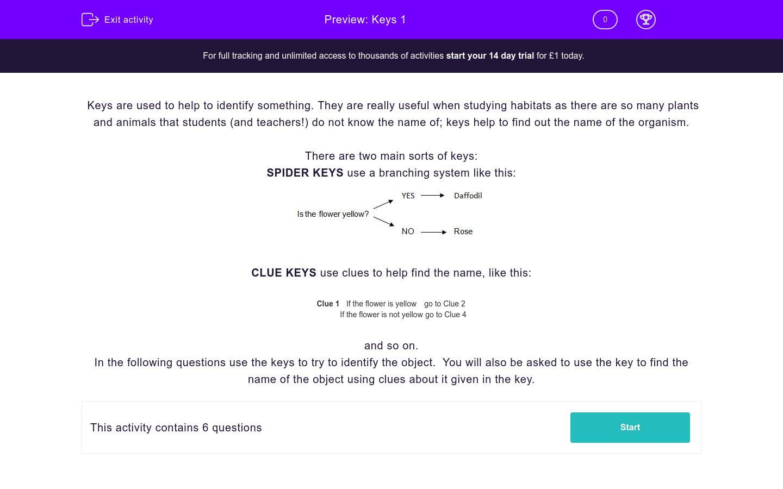 'Keys 1' worksheet