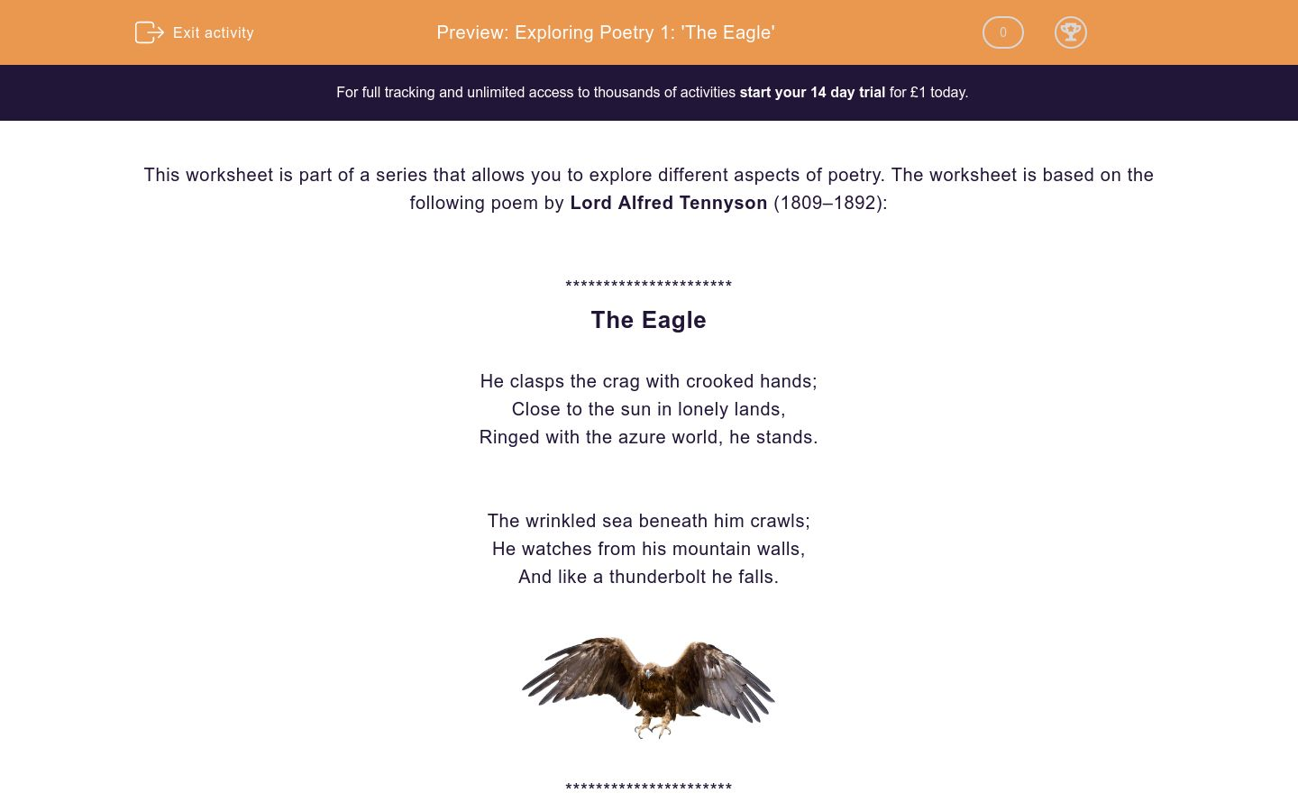'Exploring Poetry 1: 'The Eagle'' worksheet