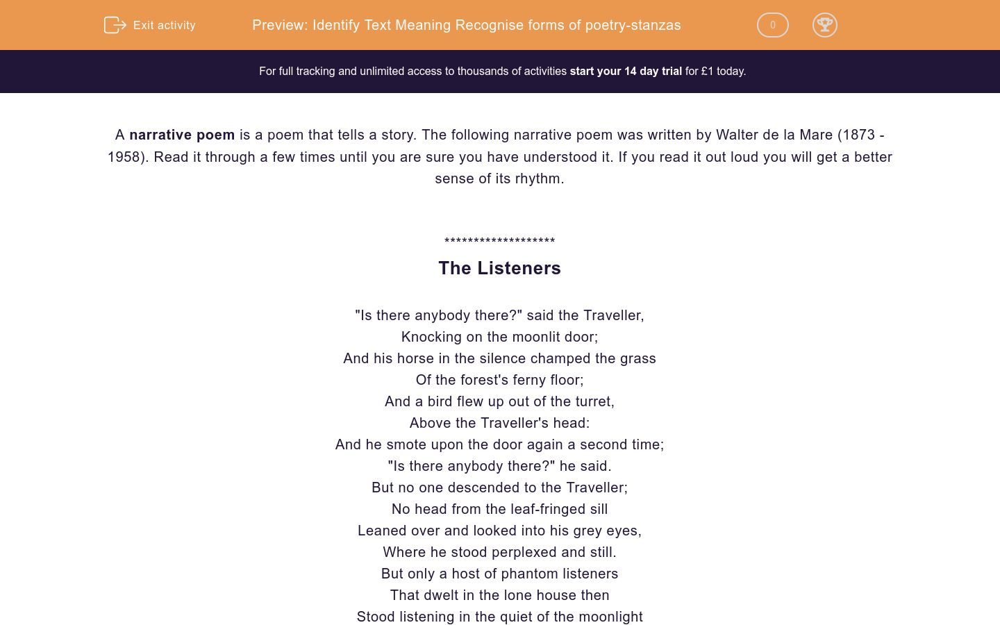 'Read and Interpret Narrative Poetry: 'The Listeners'' worksheet