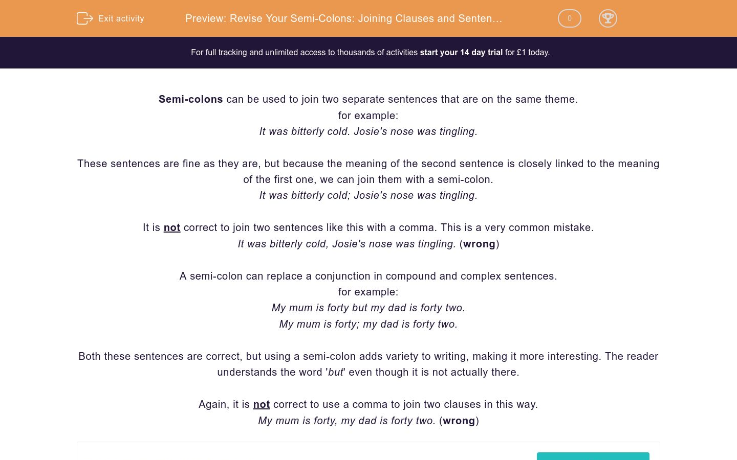 'Revise Your Semi-Colons: Joining Clauses and Sentences' worksheet