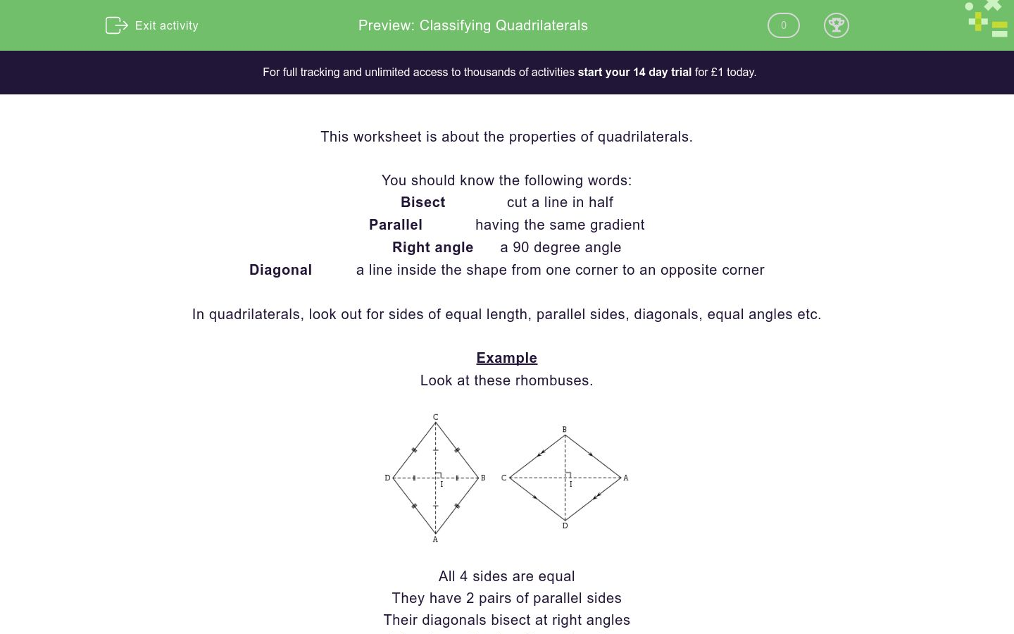 'Classifying Quadrilaterals' worksheet