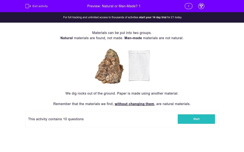 'Natural or Man-Made? 1' worksheet