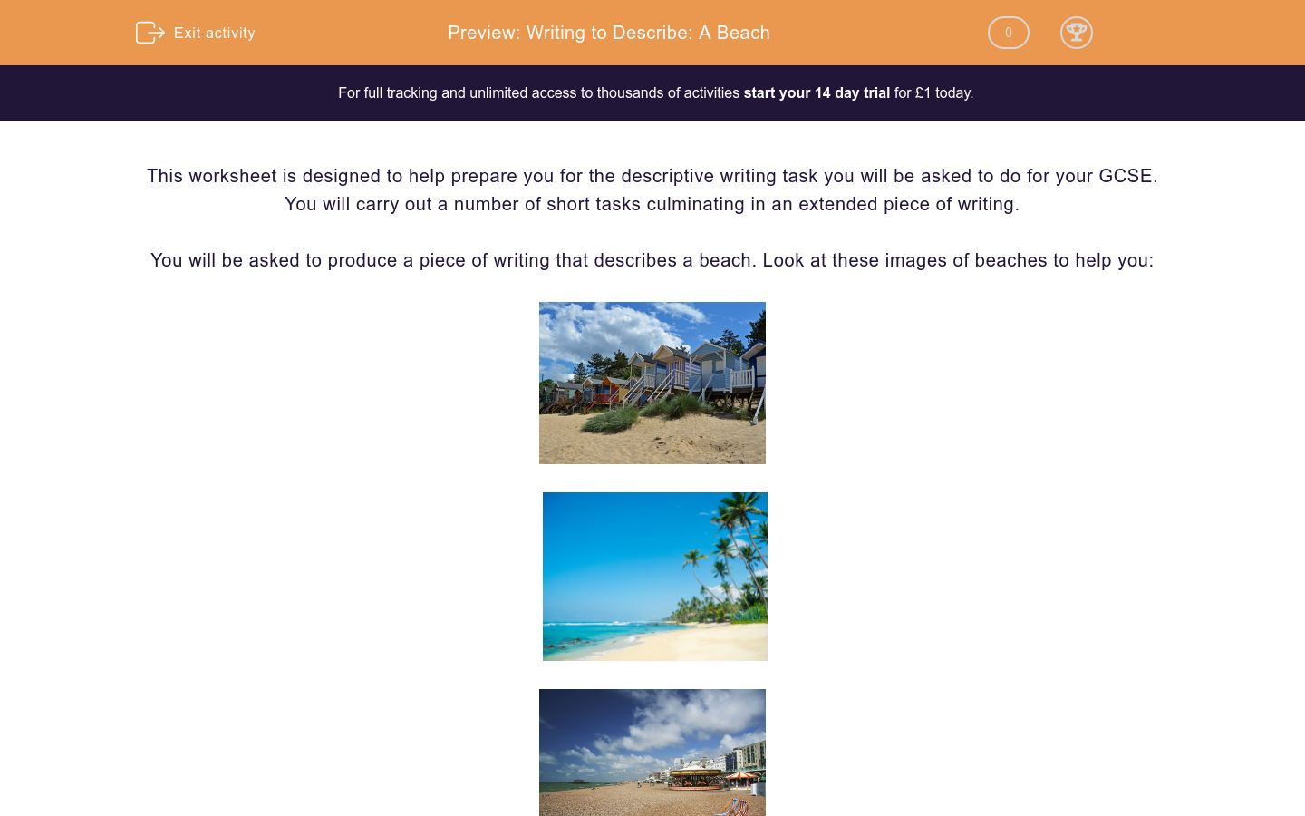 'Writing to Describe: A Beach' worksheet