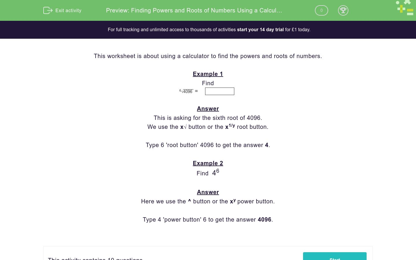'Finding Powers and Roots of Numbers Using a Calculator' worksheet