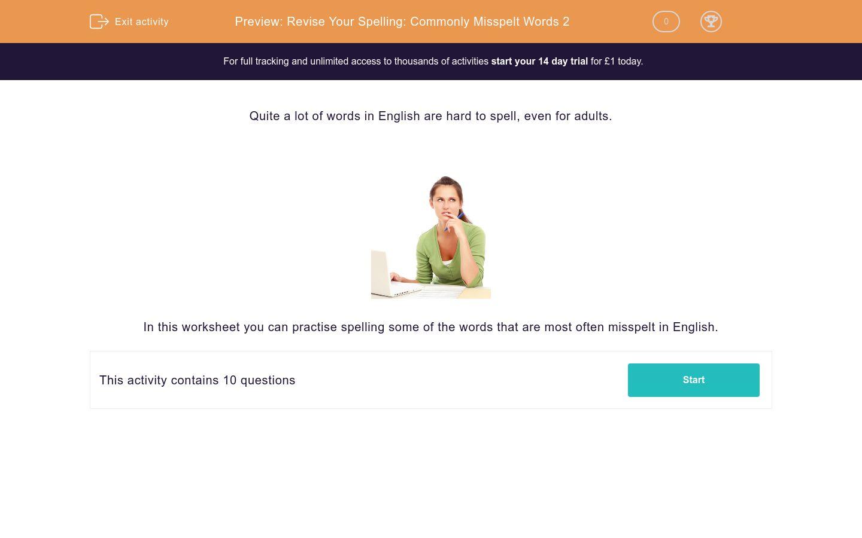 'Revise Your Spelling: Commonly Misspelt Words 2' worksheet