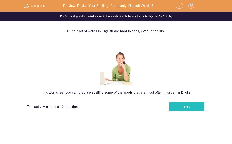 'Revise Your Spelling: Commonly Misspelt Words 3' worksheet