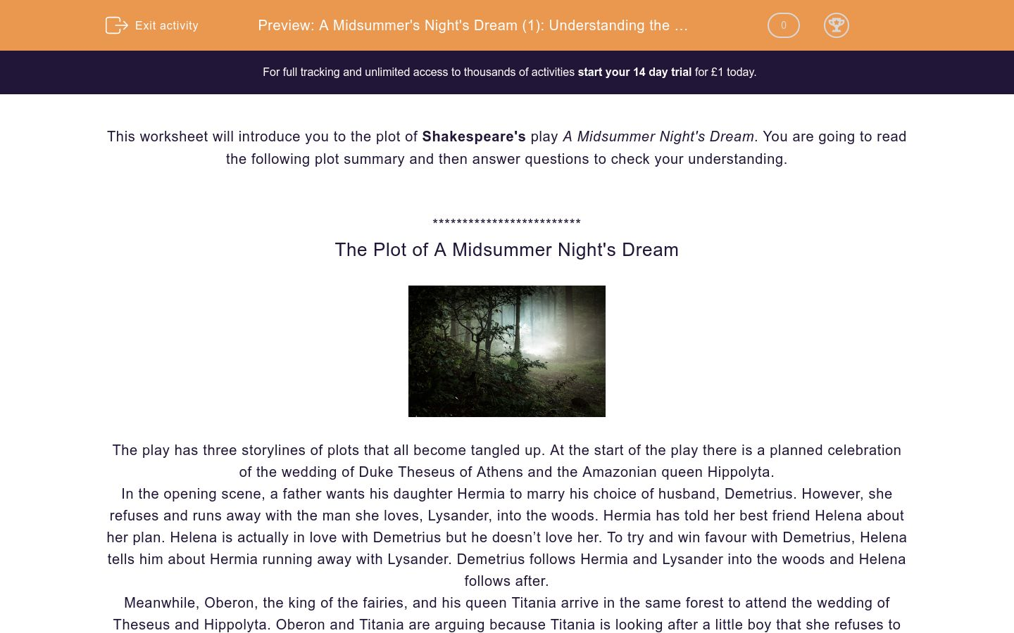 'A Midsummer's Night's Dream (1): Understanding the Plot' worksheet
