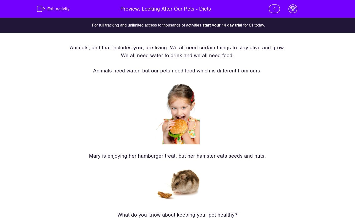 'Looking After Our Pets - Diets' worksheet