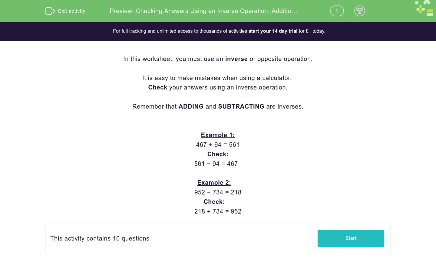 checking answers using an inverse operation addition or subtraction  checking answers using an inverse operation addition or subtraction  worksheet
