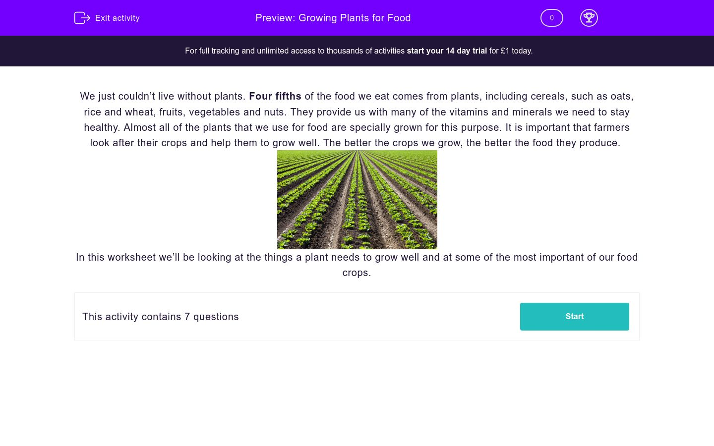 'Growing Plants for Food' worksheet