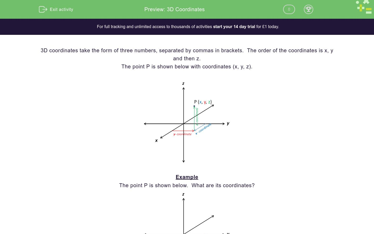 '3D Coordinates' worksheet