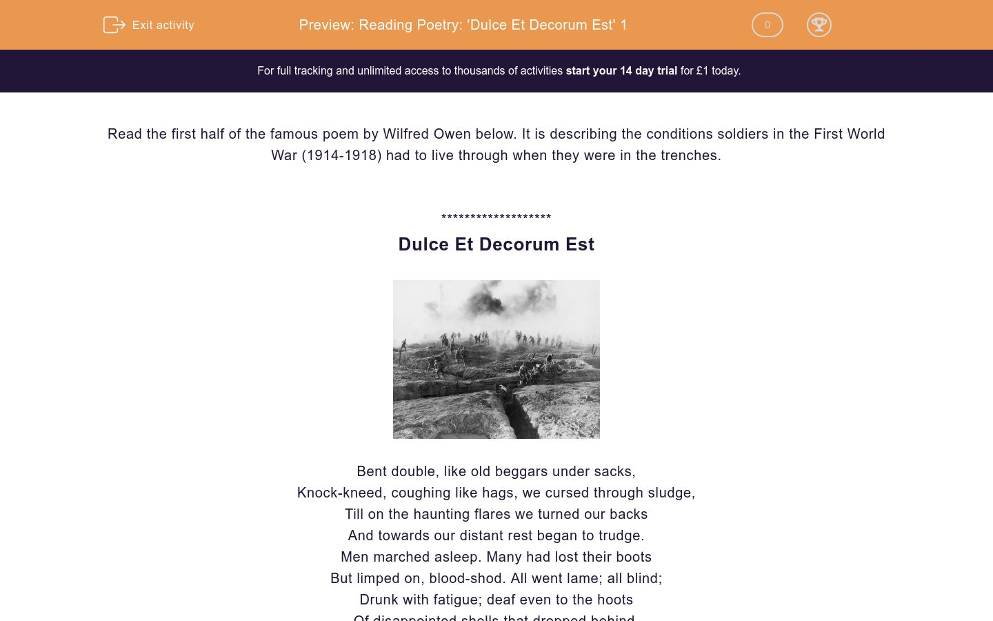 'Reading Poetry: 'Dulce Et Decorum Est' 1' worksheet