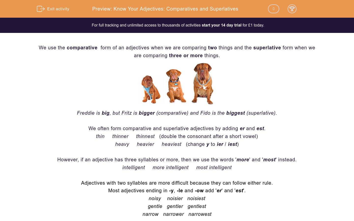 'Know Your Adjectives: Comparatives and Superlatives' worksheet