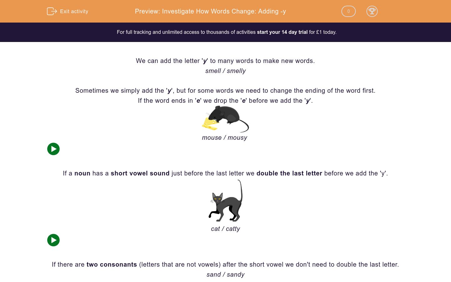 'Investigate How Words Change: Adding -y' worksheet