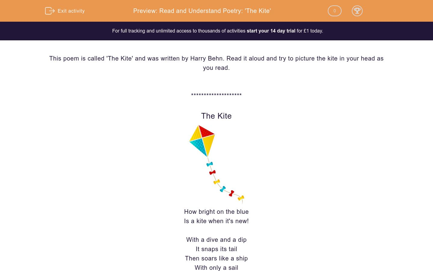 'Read and Understand Poetry: 'The Kite'' worksheet