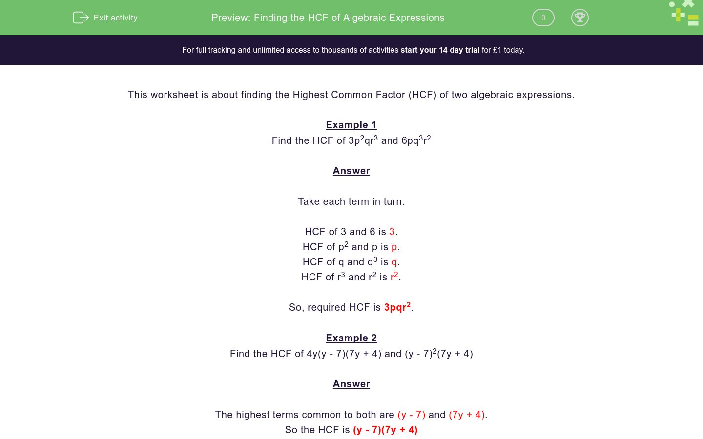 'Finding the HCF of Algebraic Expressions' worksheet