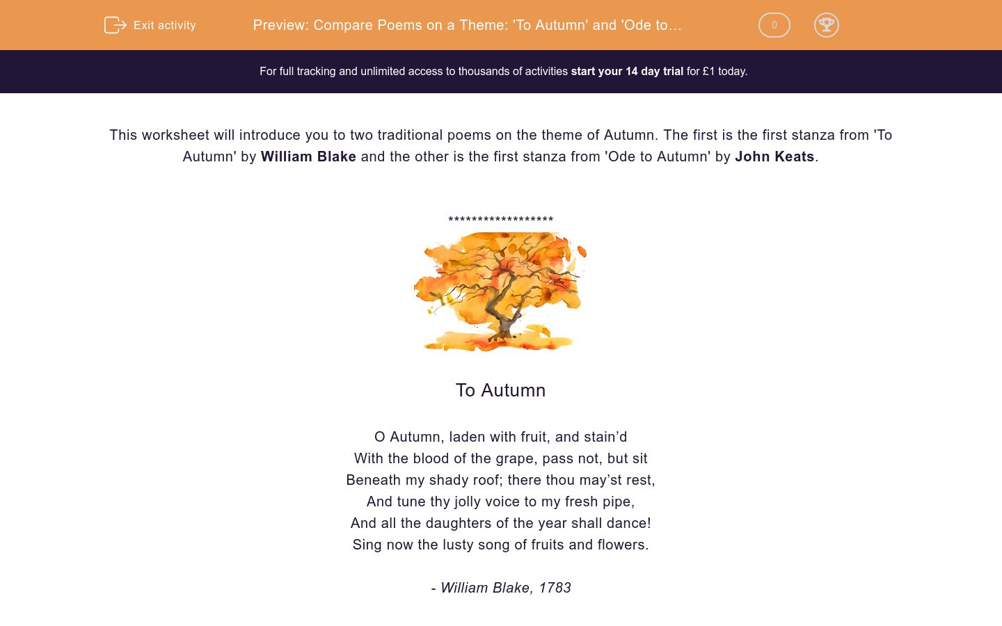 'Compare Poems on a Theme: 'To Autumn' and 'Ode to Autumn'' worksheet