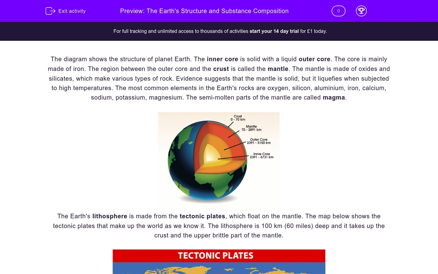 The Earths Structure And Substance Composition Worksheet Edplace