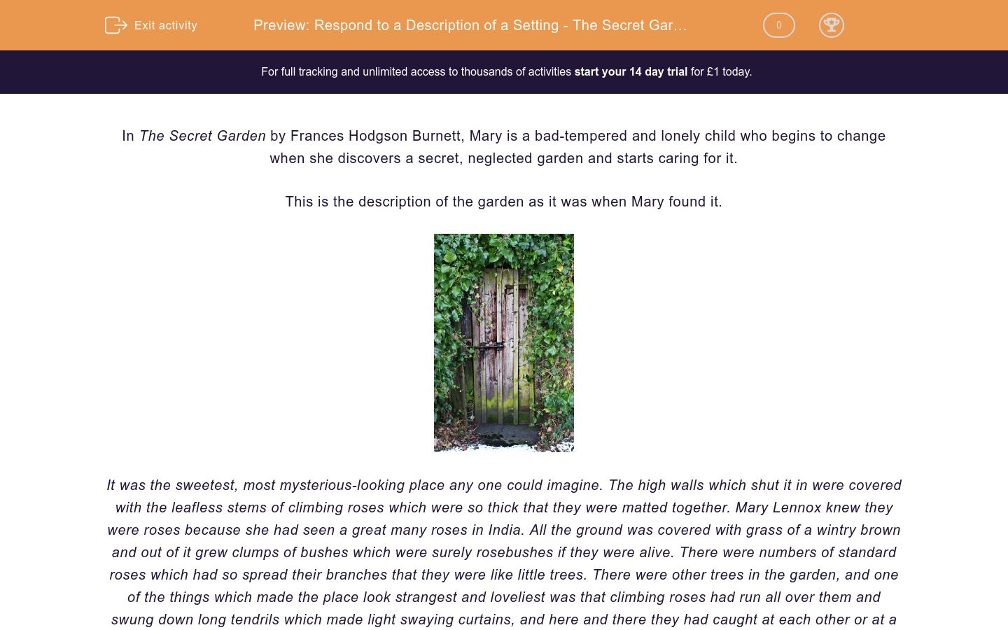 'Respond to a Description of a Setting - The Secret Garden' worksheet