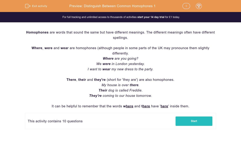 'Distinguish Between Common Homophones 1' worksheet