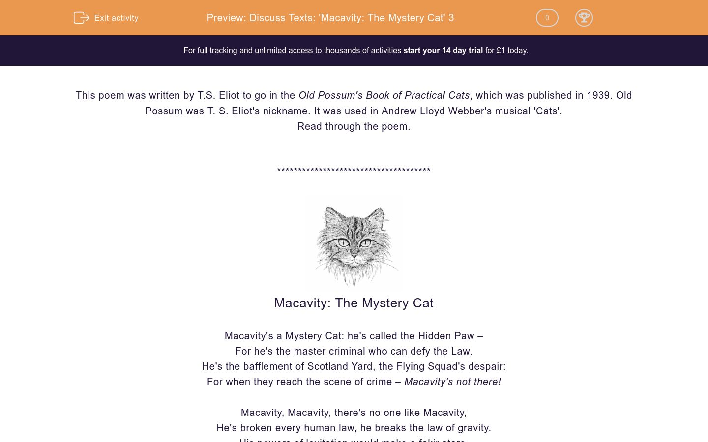 'Discuss Texts: 'Macavity: The Mystery Cat' 3' worksheet