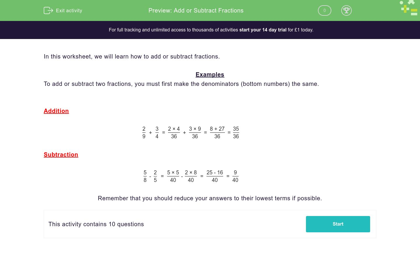 'Add or Subtract Fractions' worksheet