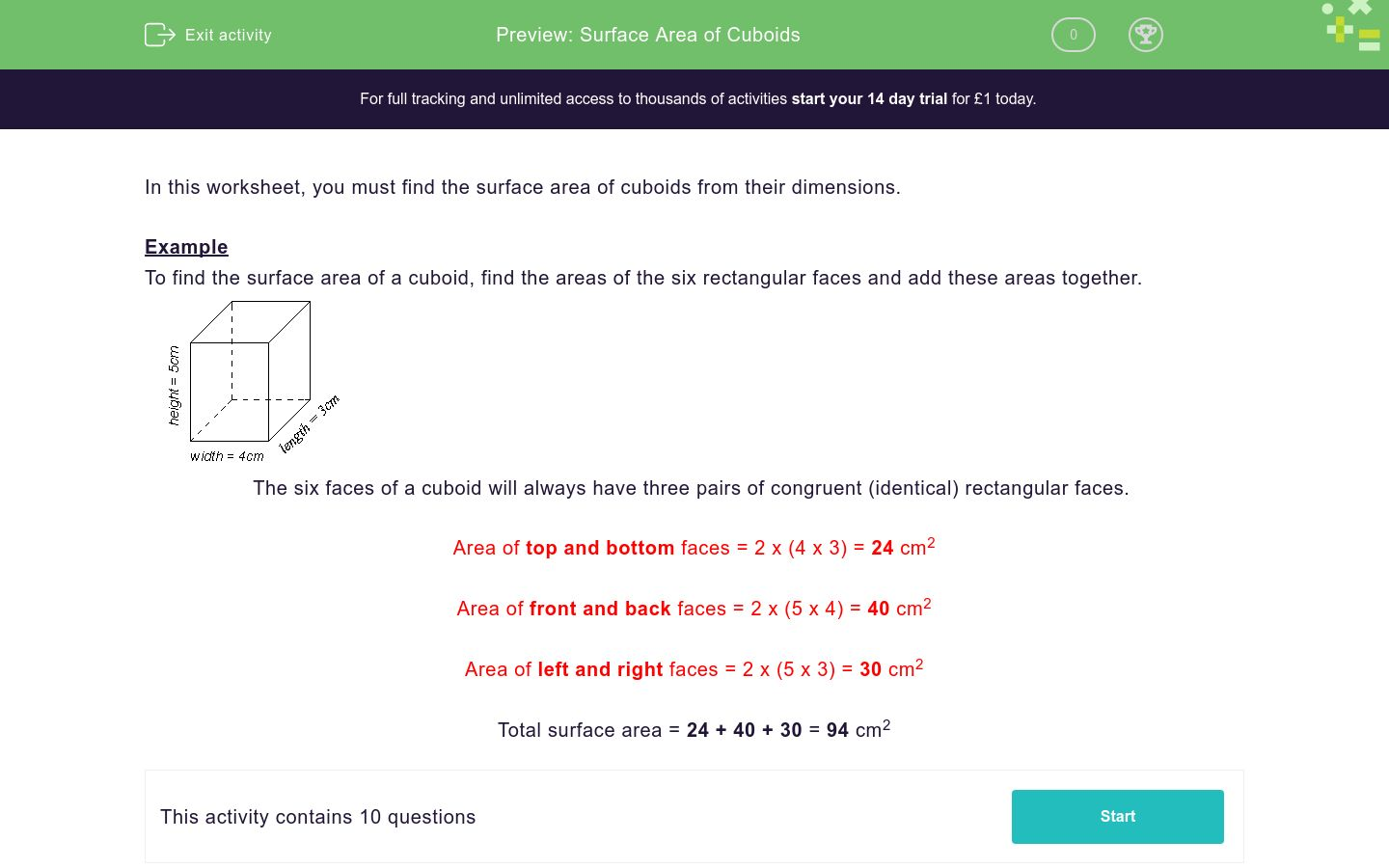 'Surface Area of Cuboids' worksheet